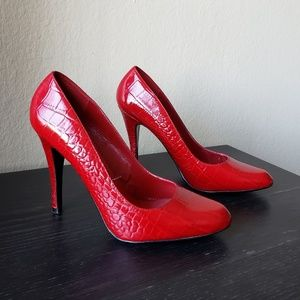Aldo Red Patent Leather Reptile Heels